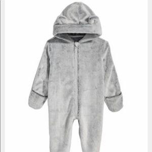 Bear ears Grey Hood Faux-Fur Footed Snowsuit 6-9mo